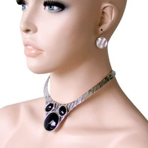 Simulated-Onyx-Black-Cabochon-Choker-Necklace-Earrings-Goth-Hip-Hop-Urban-172483543790