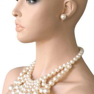 Statement-Bib-Faux-Pearl-Necklace-Earrings-Glass-Beads-PageantDrag-Queen-362107283230