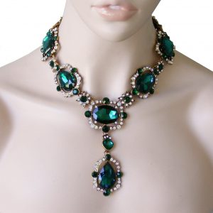 Statement-Necklace-Simulated-Emerald-Green-Glass-Crystal-Pageant-Drag-Queen-172805541290