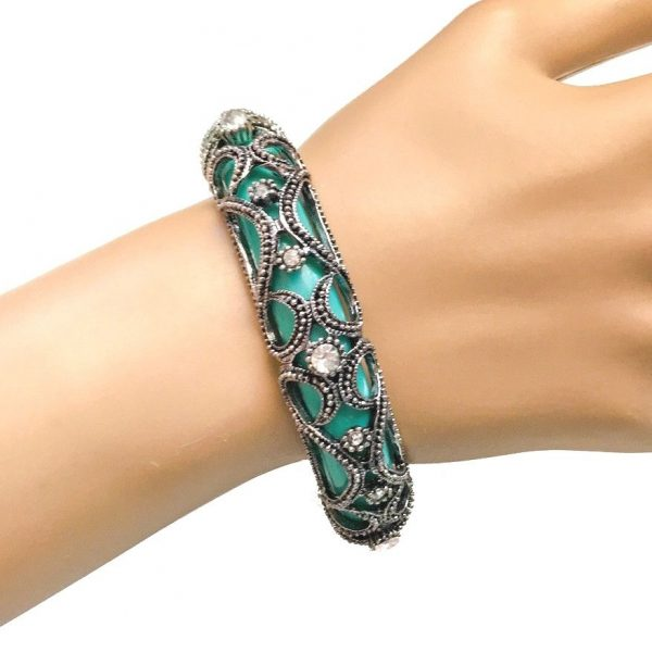 Turquoise Green, Filigree Metal &  Clear Rhinestones Baroque Bangle Bracelet