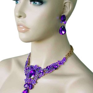 Vintage-Inspired-Royal-Blue-Evening-Necklace-Earrings-Set-Pageant-Drag-Queen-361744879840