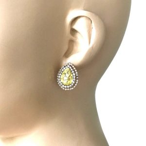 075-Drop-Yellow-Clear-Rhinestones-Post-Earrings-Gold-Tone-Pierced-Ears-362071452471