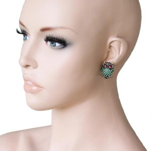 1-Drop-Mint-Fuchsia-Rhinestones-Owl-Earrings-Pierced-Ears-Animal-Themed-172231305631