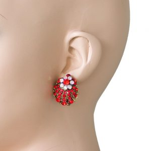 1-Long-Shell-Shape-Post-Earrings-Red-Aurora-Borealis-Crystals-Pageant-361841360141