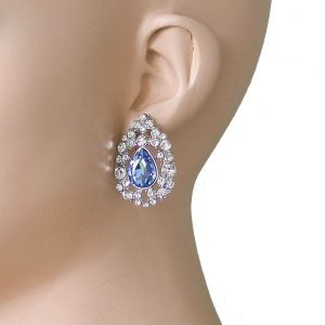 125-Drop-Filigree-Earrings-Clear-Light-Blue-Crystals-Silver-Tone-Bridal-361887054611