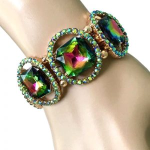 125-Wide-Glass-Iridescent-Vitrail-Green-Stretch-Bracelet-Drag-Queen-Pageant-361920327341