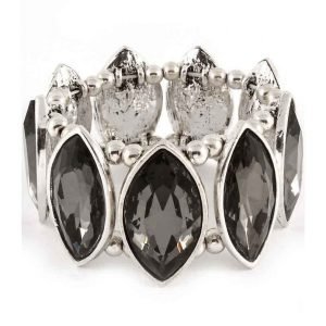138-Wide-Black-Smoke-Glass-Beads-Stretch-Bracelet-Silver-Tone-Chunky-172701566581