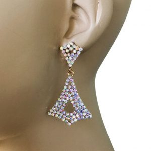 2-Long-Earrings-Aurora-Borealis-Rhinestones-Drag-Queen-Bridal-Pageant-172691381241