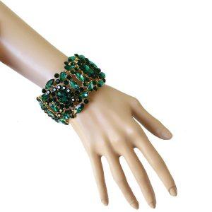 2-Wide-Green-Acrylic-Rhinestones-Stretch-Bracelet-Drag-Queen-Pageant-Bridal-361914264101