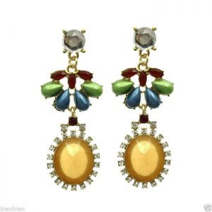 225-Long-Yellow-Multicolor-Lucite-Beads-Earrings-PageantDesigner-Inspired-361390718111