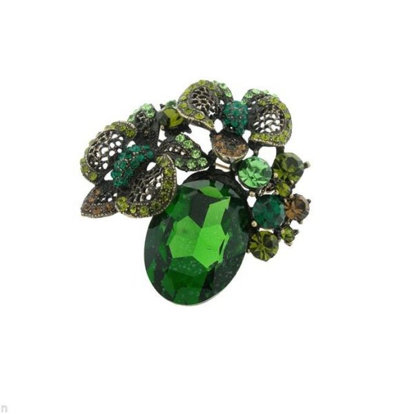 "2.25"" Tall Green Rhinestones & Crystals Cluster Brooch, Pin, Pageant,Bridal"