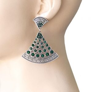 25-Long-Deco-BOHO-Inspired-Filigree-Earrings-Dark-Green-Rhinestones-Pageant-361946239631