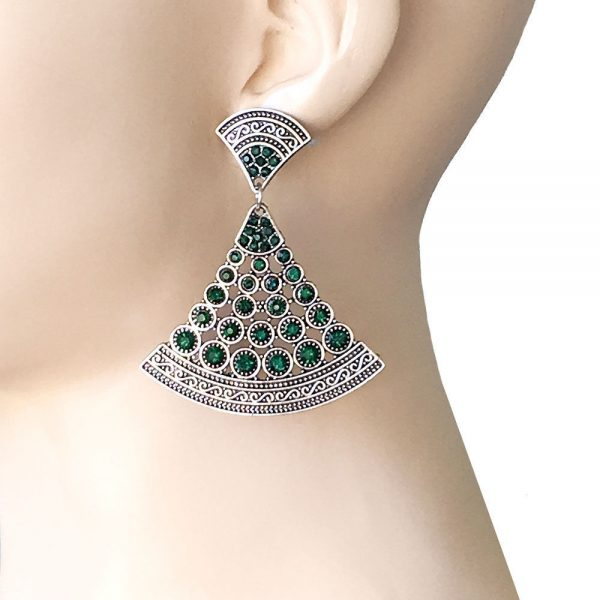 "2.5"" Long Deco Inspired Filigree Earrings, Dark Green Rhinestones Pageant, Urban"