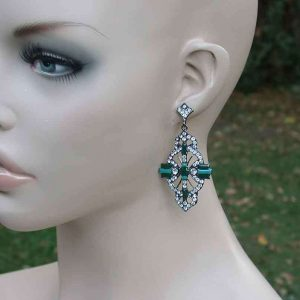 25-Long-Deco-Inspired-Green-Enamel-Clear-Rhinestones-Bridal-Pageant-361439037761