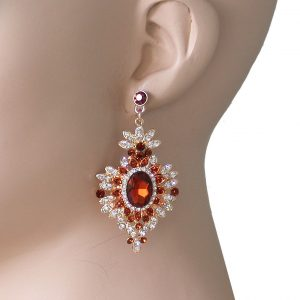 25-Long-Timeless-Victorian-Style-Honey-Brown-Clear-Crystal-earrings-Pageant-172650363301