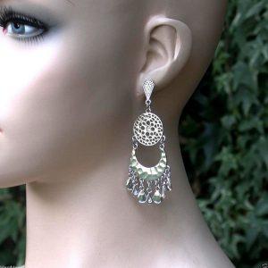 3-Long-Classic-Chandelier-Earrings-In-Pale-Silver-Tone-Rhinestone-Pageant-171898761771