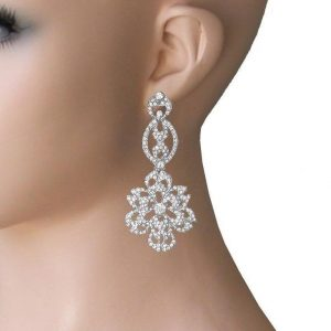 3-Long-Clear-Crystals-Floret-Filigree-Evening-Earrings-Pageant-Bridal-362042125361