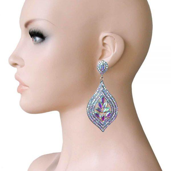 "3"" Long Cluster Clip On Earrings, Aurora Borealis Rhinestones,Drag Queen,Pageant"