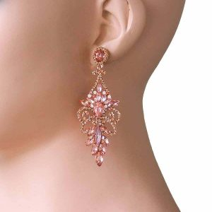 3-Long-Peach-Crystals-AB-Acrylic-Evening-Earrings-PageantDrag-QueenBridal-361834035881