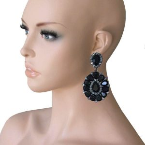 325-Long-Cluster-Clip-On-Earrings-Black-Rhinestones-Drag-Queen-Pageant-172751586501