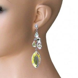 325-Long-Evening-Earrings-Aurora-Borealis-Glass-Drag-Queen-Pageant-Bridal-362107222691