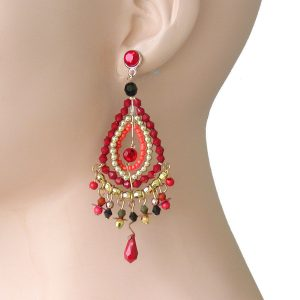 35-Long-Red-Shades-Acrylic-Beads-Statement-Lightweight-Earring-Boho-Bohemian-172567296771