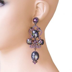 375-Long-Statement-Evening-Earrings-Smoke-Black-Crystals-Pageant-Drag-362075718421