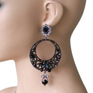 4-Long-Black-Iridescent-Beads-Boho-Bohemian-Style-Hoop-EarringsHip-HopGoth-172755141221