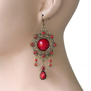 4-Long-Bohemian-BOHO-Style-Earrings-Red-Rhinestones-Lucite-Beads-Urban-361997376741