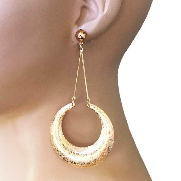 "4"" Long Geometric Shape Hoop Earrings,Casual, Urban, Hip Hop, LIGHTWEIGHT"