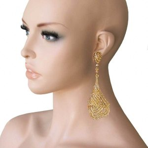4-Long-Peach-Crystals-On-Vibrant-Yellow-Gold-Tone-Evening-Earrings-Drag-Queen-172404795451