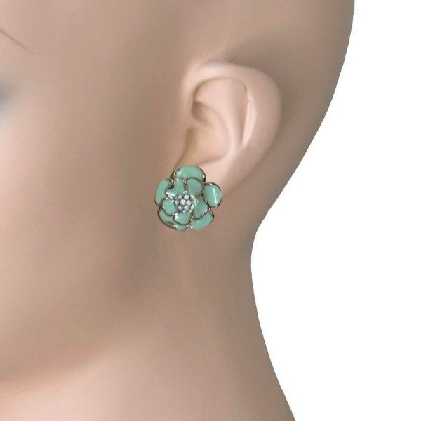 "7/8"" Drop Cluster Flower Earrings, Mint Green Enamel, Opal Crystals, Bridal"