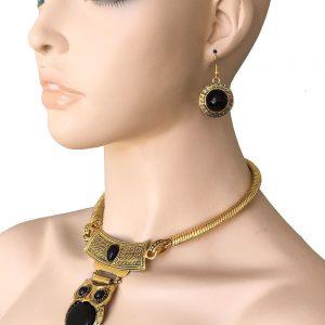 Antique-Gold-Bronze-Tone-Black-Owl-Pendant-Necklace-Earrings-Set-Chic-Goth-172838232381