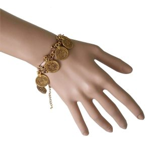 Antique-Gold-Tone-Charmed-Coins-Bracelet-Belly-Dance-Gipsy-Bohemian-172231311291