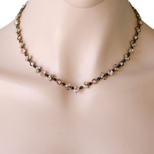 Classic-Neutral-Peach-Black-Crystals-Necklace-By-Sorrelli-Pageant-Bridal-361846007261