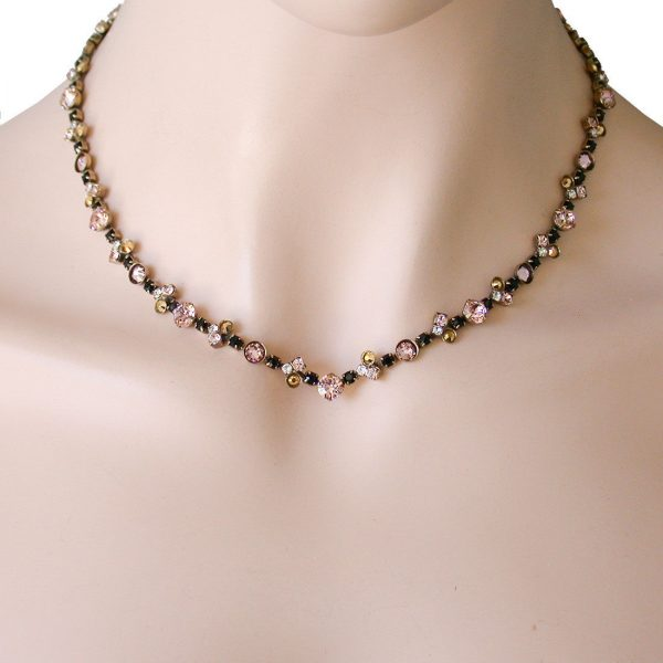 Classic Neutral Peach & Black Crystals Necklace By Sorrelli, Pageant, Bridal