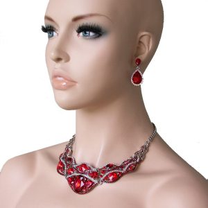 Classic-Red-Bib-Necklace-Set-Glass-Crystals-Drag-Queen-Pageant-Bridal-361576161401