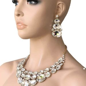 Clear-Glass-Statement-Evening-Bib-Necklace-EarringsPageant-Drag-Queen-Bridal-172751580361