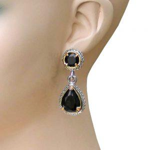 Designer-Inspired-175-Long-Black-CZ-Earrings-PostPierced-Ears-Pageant-Prom-172845399331
