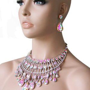 Glass-Aurora-Borealis-Statement-Bib-Necklace-Pageant-Drag-Queen-Bridal-172223589701