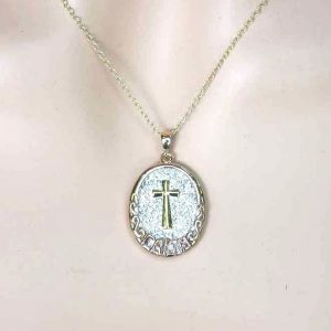 Gold-Pl-Sterling-Silver-Cross-Medal-Reversible-Necklace-Crystal-Engraved-words-172483454821