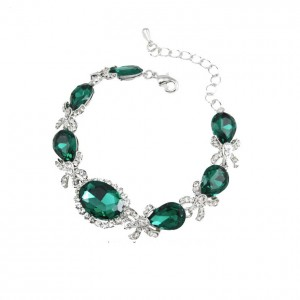 Green-Clear-Crystals-Cluster-Bracelet-Silver-Tone-Pageant-Bridesmaid-Bridal-172089994041