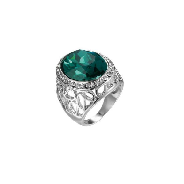 Heavy Unissex Oval Simulated Emerald Crystal Statement Ring Sizes 8, 10