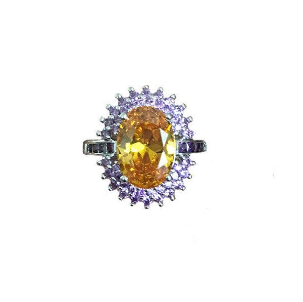 Lab Created Oval Citrine & Amethyst Sterling Silver Halo Ring Size 7 & 9