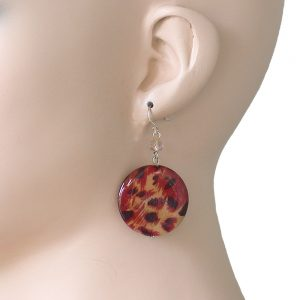 Leopard-Cheetah-Animal-Print-Round-Shell-Earrings-Sterling-Silver-Ear-Wires-361840237041