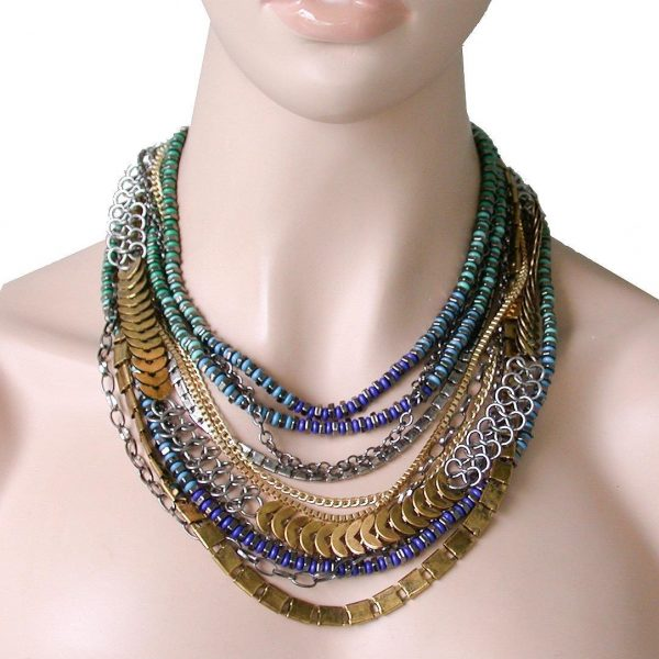 Multilayered Blue, Green, Gold & Silver, Mixed Materials BOHO Chic Necklace