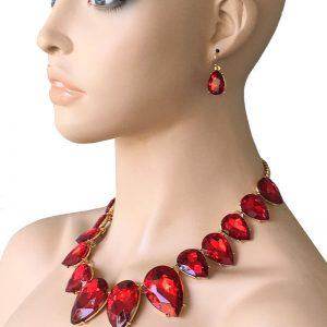 Red-Glass-Statement-Necklace-Earrings-Jewelry-Set-Bridal-Pageant-Drag-Queen-362034766001