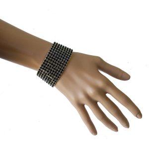 Silver-Tone-138-W-Black-Crystals-Evening-Bracelet-PageantBridalDrag-Queen-172804273261