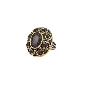 Statement-BOHO-Cabochon-Ring-Clear-Rhinestones-Black-Lucite-Beads-Size-7-172866085791