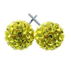 Super-Small-Enameled-Yellow-Ball-With-Crystals-Post-Earrings-Pageant-Pierced-172180326291